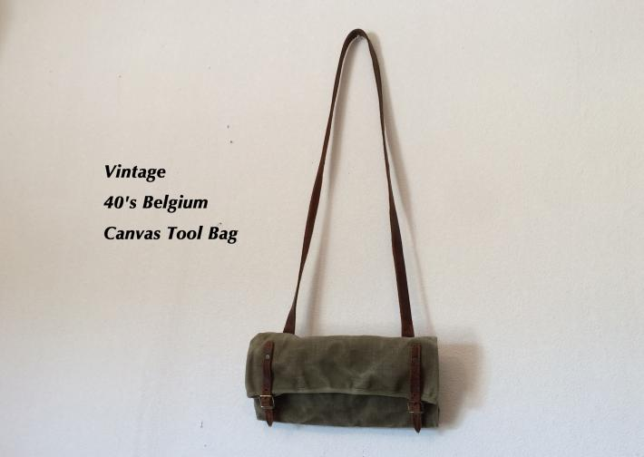 Vintage / 40's Belgium / Canvas Tool Bag