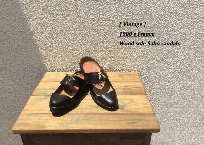 Vintage / 1900's France / Wood sole Sabo sandals