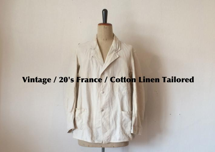 Vintage / 20's France / Cotton Linen Tailored